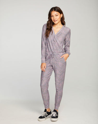 Cozy Knit Long Sleeve Surplice Jumpsuit
