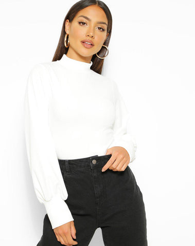 Crepe High Neck Oversized Sleeve Top