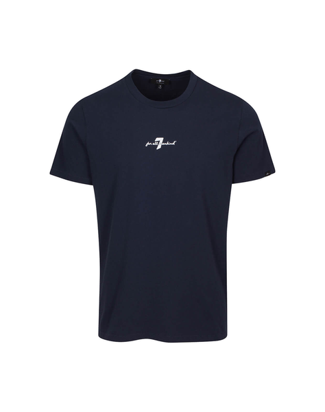 Crew Neck Graphic Tee in Navy