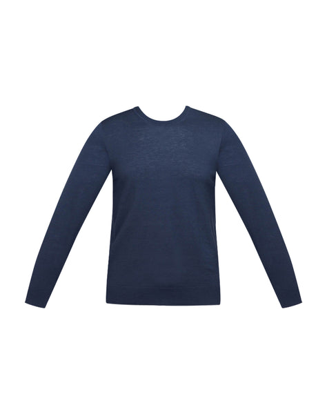 Crewneck Sweater With Shoulder Detail In Admiral Blue