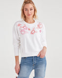 Crewneck Sweatshirt with Pink Floral Embroidery in Optic White