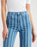 Cropped Alexa in Striped Denim