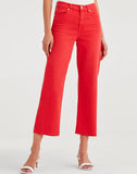 Cropped Alexa with Cut Off Hem in Bright Red