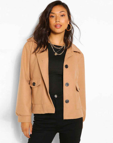 Cropped Wool Look jacket