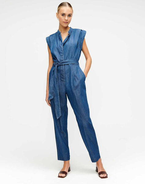 Cuffed Sleeve Jumpsuit in Pacific Street