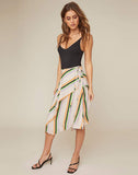 Dallas Striped Asymmetrical Midi Skirt