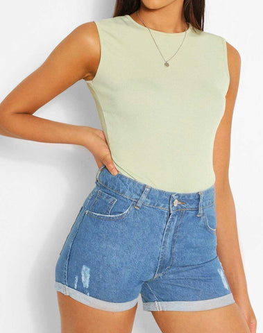 Denim Distressed Turn Up Hem Short