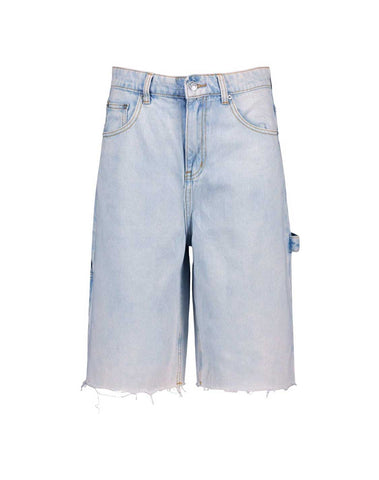 Denim Fray Hem Longline Shorts