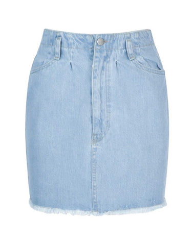 Denim Paperbag Raw Hem Denim Mini Skirt
