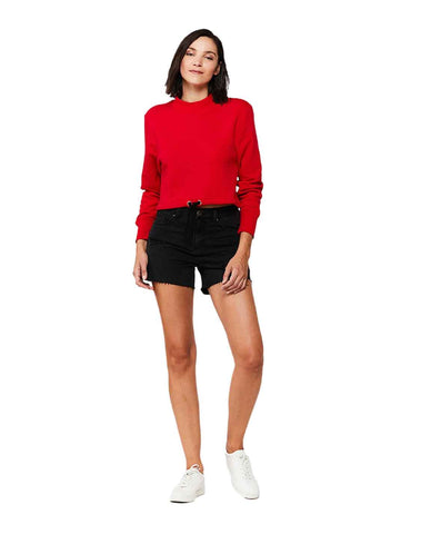 Devina Red Pullover Cropped Sweatshirt