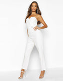 Diamante Trim Strapless Tailoring Jumpsuit
