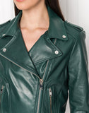 DONNA Bistro Green Signature Leather Biker Jacket