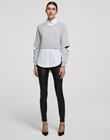 Double Layer Poplin Shirt Sweatshirt