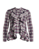 Downtown Plaid Ruffle Front Blouse