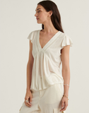 Drop Needle V Neck Embroidered Top