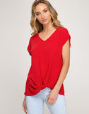 Drop Shoulder Woven Top With Side Front Twist Detail