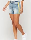 Dylan Yellow Stripe High-Rise Shorts