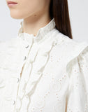 Ecru Cotton Shirt With High Neck
