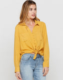 Eleni Honey Gold Tie-front Top