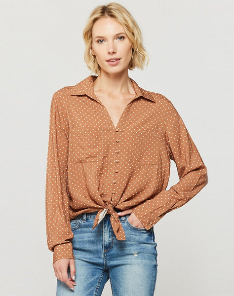Eleni White Dot Tie-Front Top