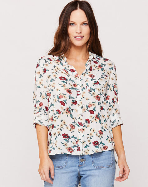 Elisa Ivory Red Floral Button-Up Shirt