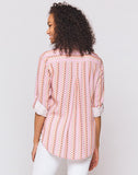 Elisa Pink Multi Heart Stripe Button-Up Shirt
