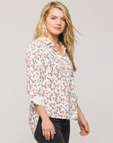 Elisa White Multi Hearts Button-up Shirt