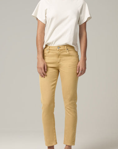 Elsa Mid Rise Slim Fit Crop in Golden Rod