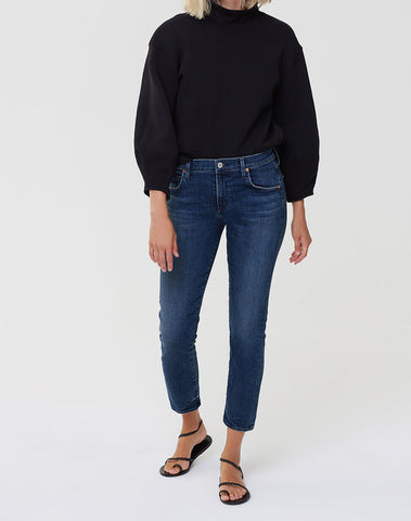 Elsa Mid Rise Slim Fit Crop In Night Tide