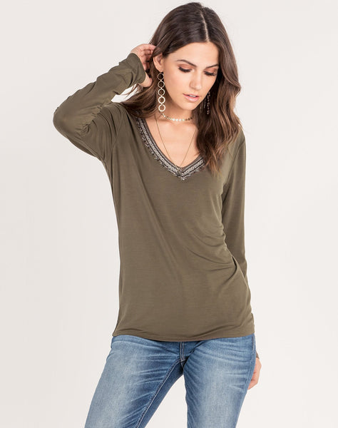 Embellished V Neck Top