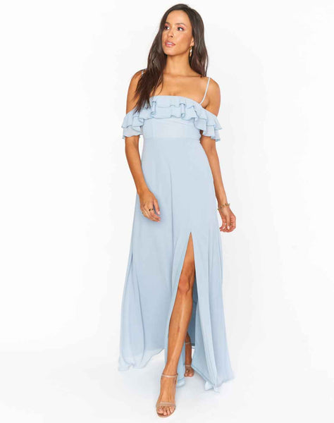 Emma Ruffle Maxi Dress ~ Steel Blue Chiffon