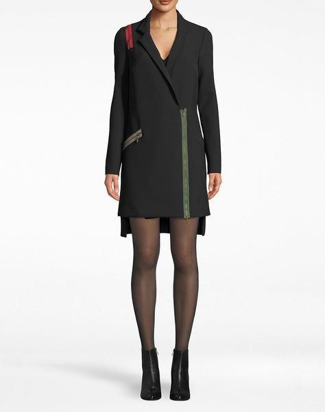 Exposed Zippers Blazer Dress