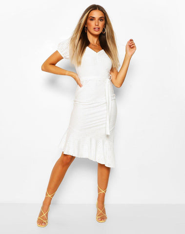 Eyelet Puff Sleeve Dress With Tie Belt