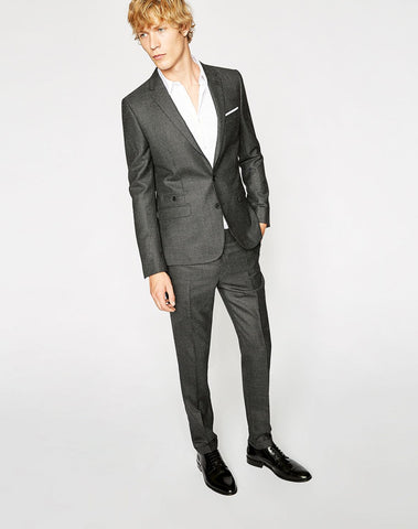 Faded Grey Wool Suit Trousers