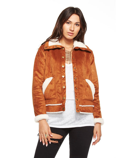 FAUX FUR LINED SUEDE SNAP FRONT MOUNTAIN TIME JACKET