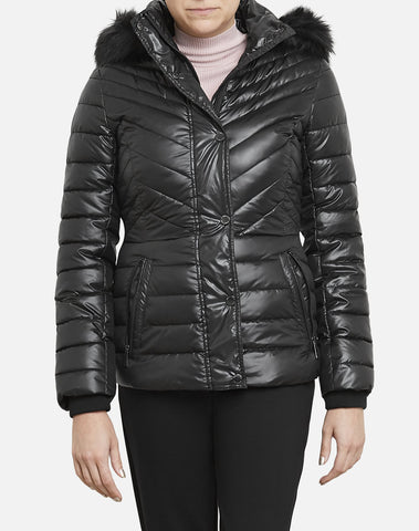 Faux Fur Trimmed Short Puffer Coat