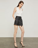 Faux Leather Paperbag Waist Short