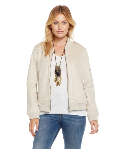 FAUX SUEDE UTILITY FUR LINED BOMBER JACKET
