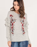 FLORAL EMBROIDERED RUFFLE SLEEVE TOP