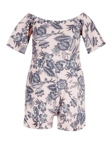 Floral Off The Shoulder Frill Romper