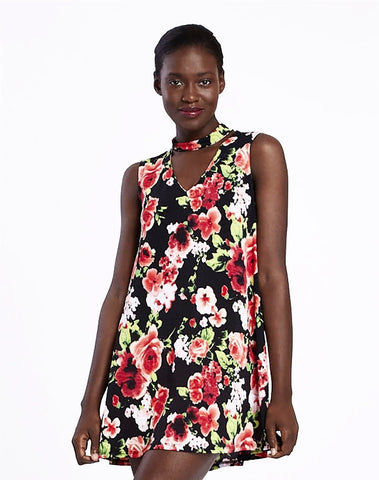 Black Floral Cutout Dress
