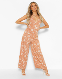Floral Print Woven Frill Sleeve Wide Leg Jumpsuit