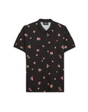 Floral Printed Black Polo In Cotton Jersey
