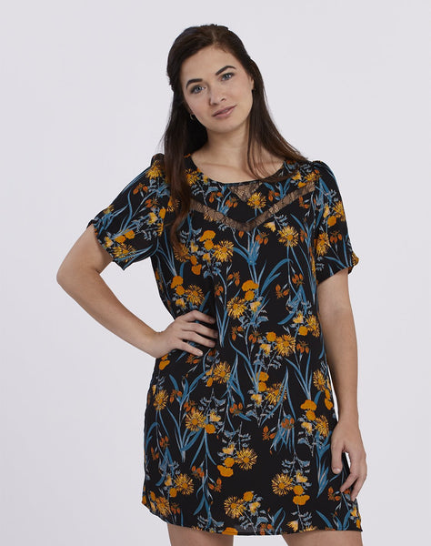Lace Inset Printed Dress