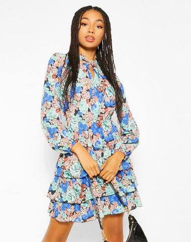 Floral Tie Neck Smock Dress