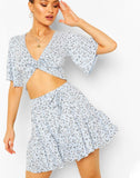 Floral Twist Front Top & Skater Skirt Co-ord
