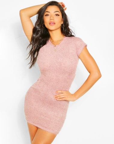 Fluffy Knit Open Back Bodycon Dress