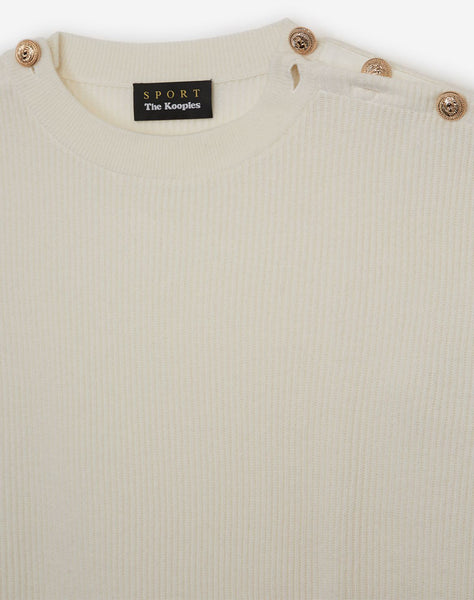 Formal White Sweater With Shoulder Buttons