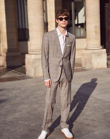 Formal Wool Trousers With Grey Prince-of-wales Motif