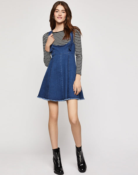 Frayed Overall Denim Dress